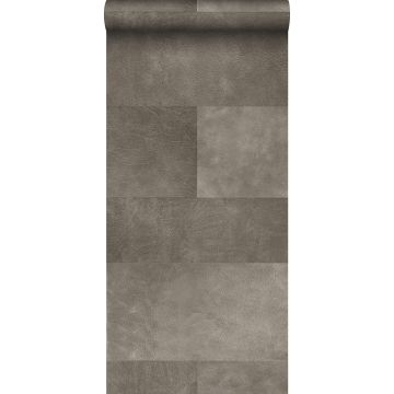 non-woven wallpaper XXL tile motif with leather look warm gray from Origin