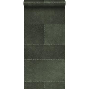 non-woven wallpaper XXL tile motif with leather look dark green from Origin