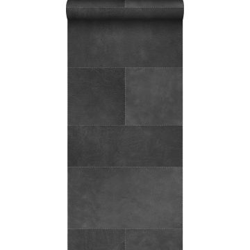 non-woven wallpaper XXL tile motif with leather look dark gray from Origin