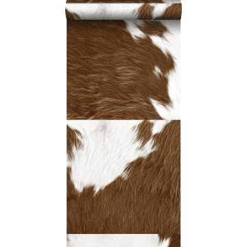 non-woven wallpaper XXL cowhide imitation brown and white from Origin