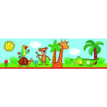 self-adhesive wallpaper border jungle animals blue and green from Sanders & Sanders