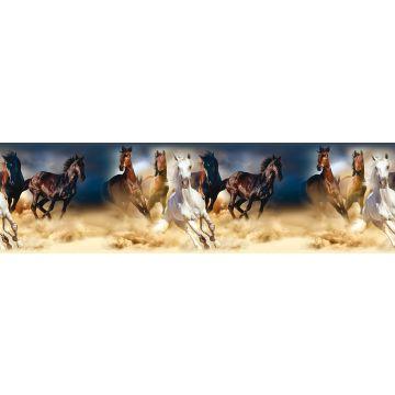 self-adhesive wallpaper border horses dark blue, brown and beige from Sanders & Sanders