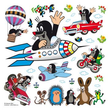 wall sticker Little Mole blue, red and green from Sanders & Sanders