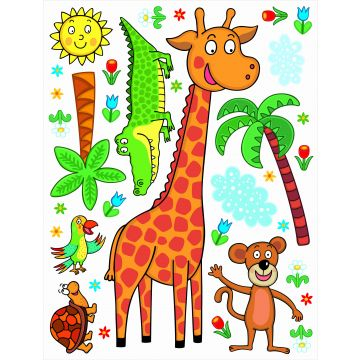 wall sticker jungle animals green, orange and blue from Sanders & Sanders