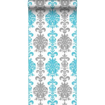 wallpaper baroque print silver and turquoise from Sanders & Sanders