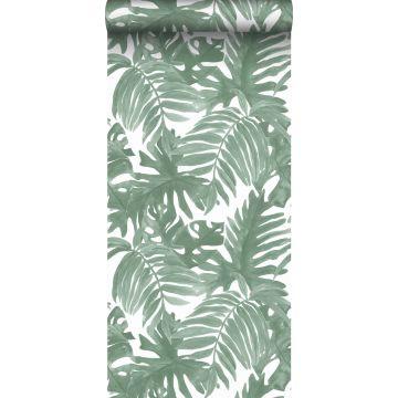 wallpaper palm leaves grayish green from Sanders & Sanders